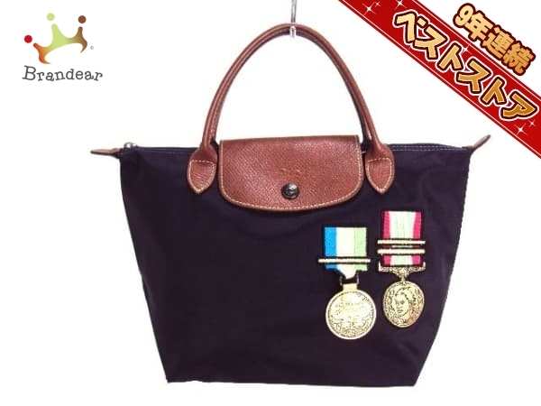 593cfd483070 ロンシャン LONGCHAMP バッグ ハンドバッグ ナイロン×レザー パープル×ダークブラウン×マルチ メダル/JEREMY