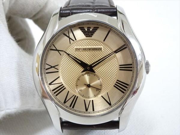 5161a2174986 動作OK♪エンポリオ・アルマーニ メンズ腕時計 AR-1704 シルバー×ブロンズ レザーベルト