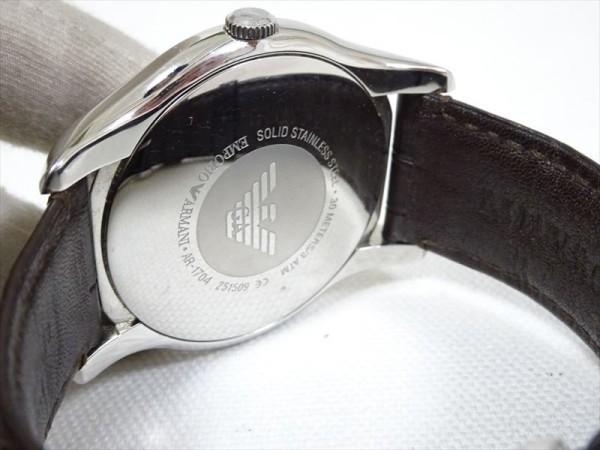 76af0b64fc60 ... 動作OK♪エンポリオ・アルマーニ メンズ腕時計 AR-1704 シルバー×ブロンズ レザーベルト