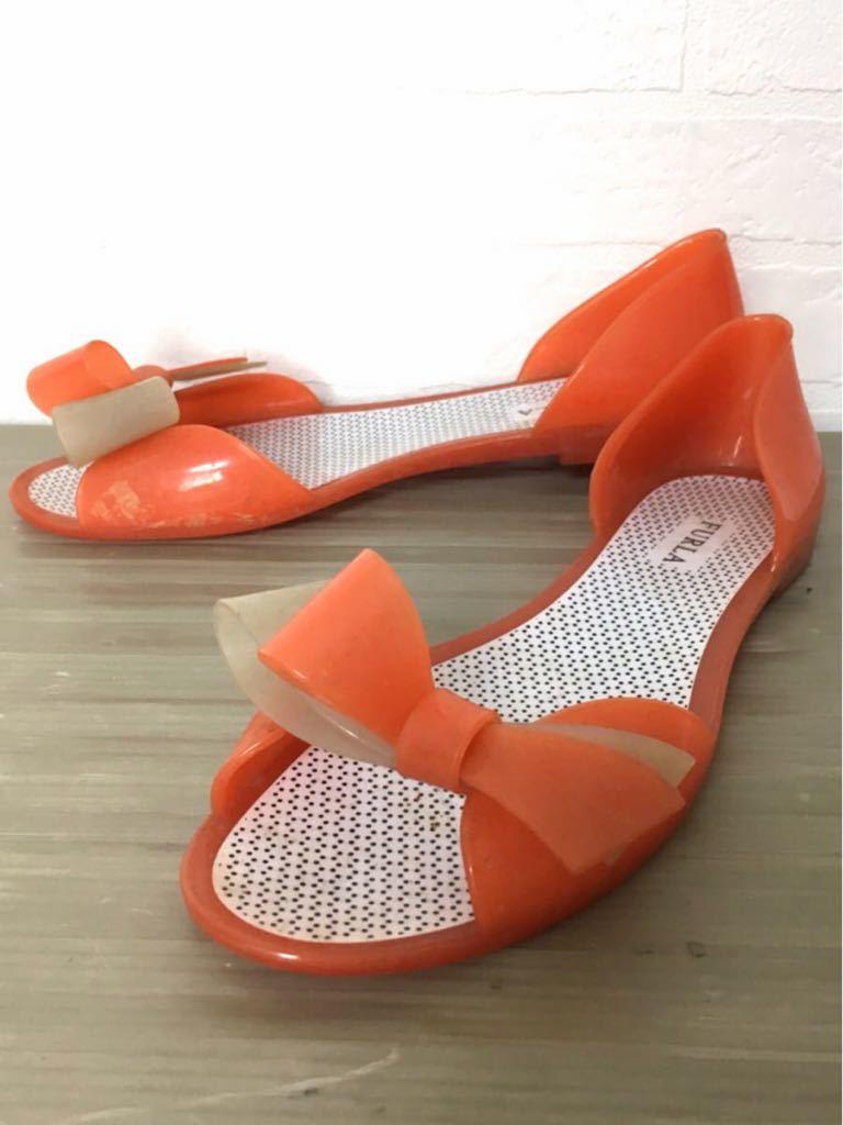 99cac435a163 208☆ FURLA フルラ ラバー フラットシューズ サンダル 靴 サイズ37 24cm程 レディース オレンジ オシャレ