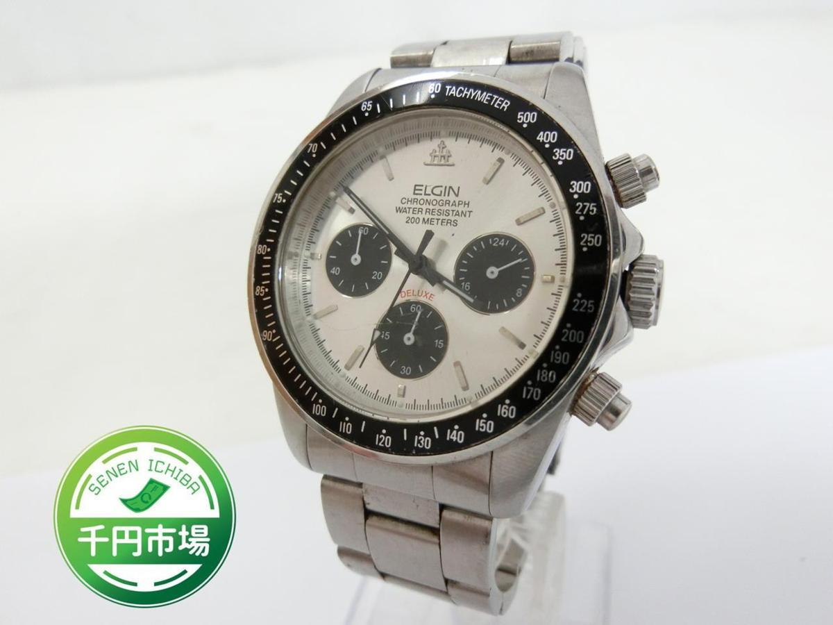a514c44aa9 【B-6239】ELGIN エルジン クロノグラフ DELUXE 200METERS クォーツ メンズ 腕時計 FK-