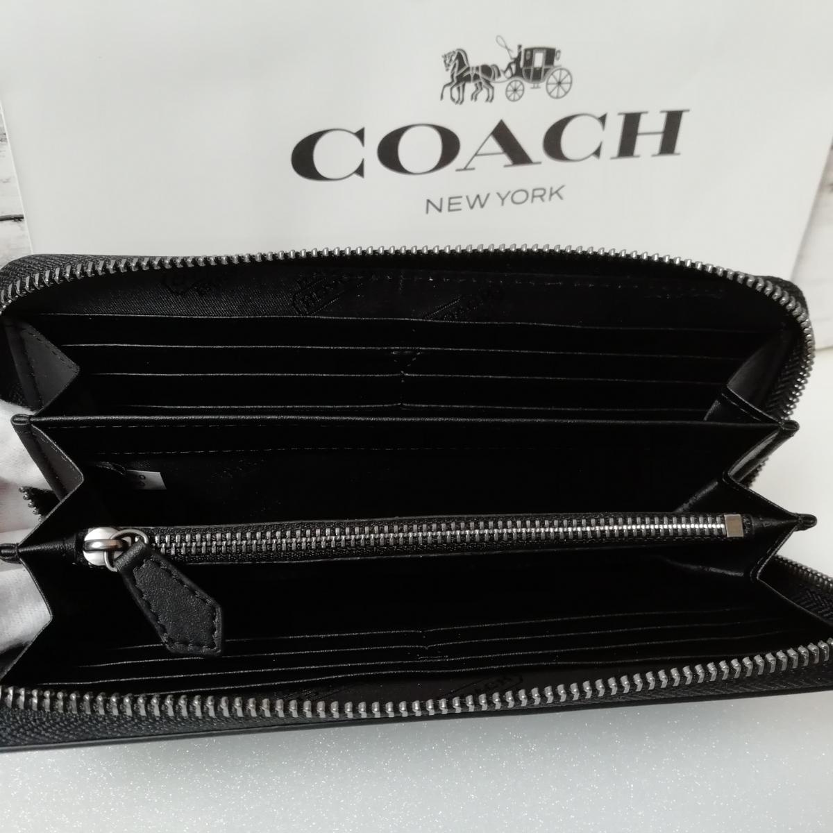 401cf2359caa ... コーチ COACH 長財布 新品 F75000 シグネチャー PVC × レザー アコーディオン ジップ アラウンド チャコールグレー /  ブラック