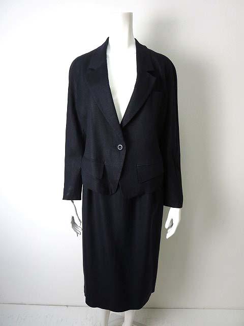 f862e4e05238 KOKO BEALL オンワード樫山 スカート スーツ リネン 麻 上下セットアップ 9 M 紺 ネイビーの