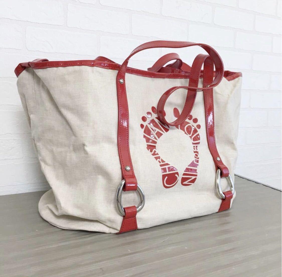 665bdc3c3938 Christian Louboutin クリスチャン ルブタン トートバッグ ハンドバッグ レザー使用 レディース 赤 ベージュ オシャレ 鞄 かばんの