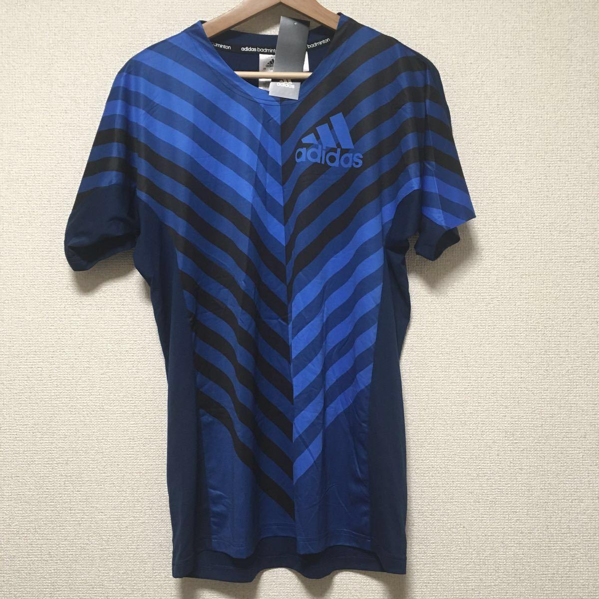 b44b2a5c07791 新品 #27 アディダス Tシャツ 半袖 トップス badminton バドミントン adidas ブルー ブラック 青 黒 L