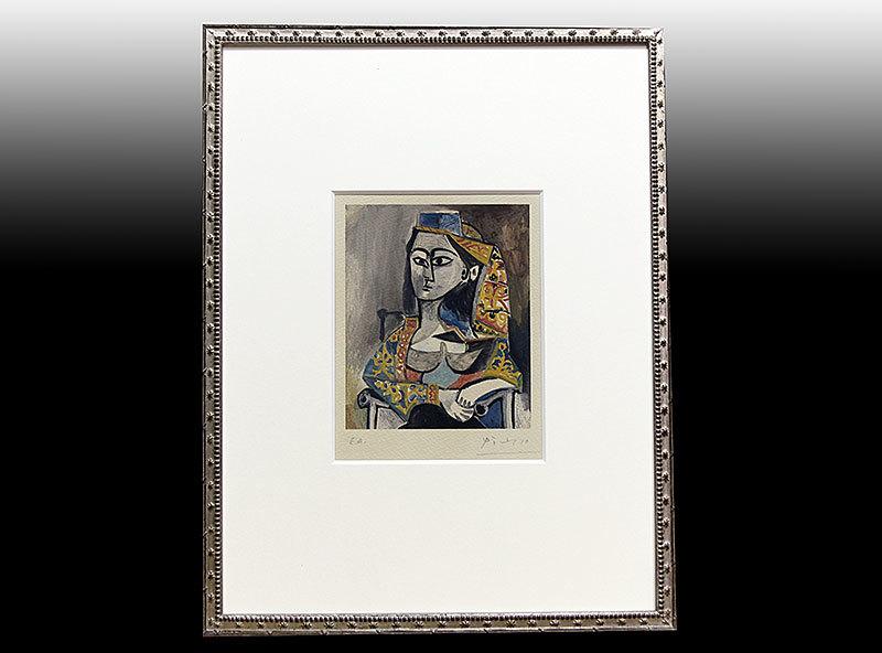 パブロ・ピカソ 直筆サイン リトグラフ「Femme au costume turc dans un fauteuil E.A.」