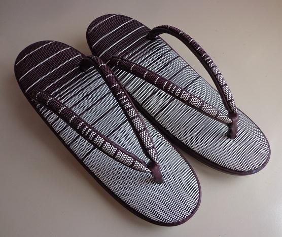 b4171fc49504a6 新品】未使用 錏(シコロ)のおしゃれ履き 23.5cm 茶紫とキナリの粋な縞 ...