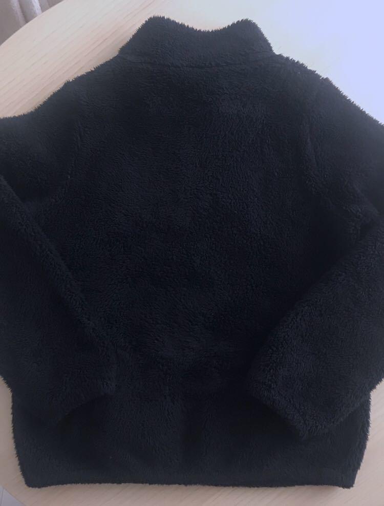 f3e4a7e17c47e ... ファーリーフリースジャケット ブルゾン ジャンバー フリース モコモコ ファー ボア 黒 ブラック ユニクロ UNIQLO ジーユー GU  150 ...